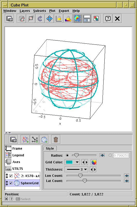 topcat tool for operations on catalogues and tablesplot of the xyz vertices providing surface of an asteroid (48 doris) with a